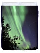 Aurora Borealis Above The Trees Duvet Cover