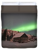 Aurora Borealis Over A Cabin, Northwest Duvet Cover