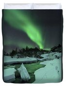 Aurora Borealis Over A Frozen Tennevik Duvet Cover