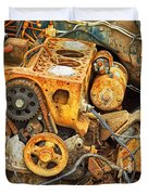 Auto Engine Block From A Wrecked Car Duvet Cover