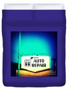 Auto Repair Sign On Route 66 Duvet Cover