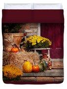 Autumn - Gourd - Autumn Preparations Duvet Cover by Mike Savad