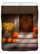 Autumn - Halloween - We're All Happy To See You Duvet Cover by Mike Savad