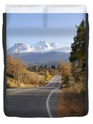 Autumn And Mt Shasta Down The Road Duvet Cover
