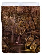 Autumn At The Waterfall In The Ravine In Central Park Duvet Cover