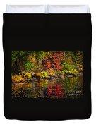 Autumn Forest And River Landscape Duvet Cover
