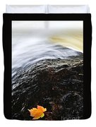 Autumn Leaf On River Rock Duvet Cover by Elena Elisseeva