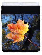 Autumn Leaf On The Water Level Duvet Cover