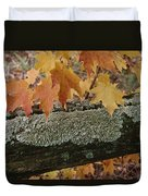 Autumn Leaves And A Lichen-covered Log Duvet Cover