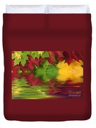 Autumn Leaves In Water With Reflection Duvet Cover