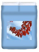 Autumn Leaves Tree Red Orange Art Prints Blue Sky White Clouds Duvet Cover