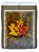 Autumn Maple Leaf In Water Duvet Cover