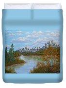 Autumn Mountains Lake Landscape Duvet Cover