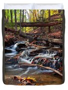 Autumn Moving Water With Foliage Duvet Cover