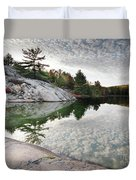 Autumn Nature Lake Rocks And Trees Duvet Cover
