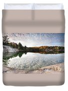 Autumn Nature Lake Rocks And Trees Panorama Duvet Cover