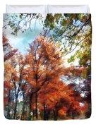 Autumn Street Perspective Duvet Cover