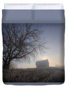 Autumn Sunrise Over Barn On A Farm Duvet Cover