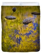 Autumn Tree Reflections With Rocks On The Muskegon River Duvet Cover