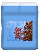 Autumn Trees Art Prints Blue Sky White Clouds Duvet Cover