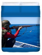 Aviation Ordnanceman Fires An M-14 Duvet Cover
