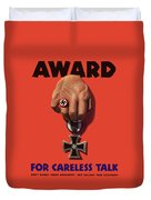 Award For Careless Talk - Ww2 Duvet Cover