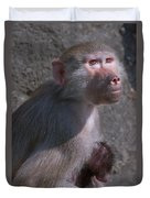 Baboon Carrying Her Baby Duvet Cover