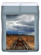 Baby Buggy On Railroad Tracks Duvet Cover