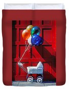 Baby Buggy With Balloons  Duvet Cover