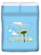 Baby Girl Congratulations Greeting Card - Oxeye Daisies Duvet Cover
