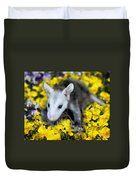 Baby Opossum In Flowers Duvet Cover