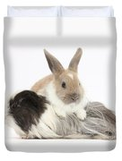 Baby Rabbit And Long-haired Guinea Pig Duvet Cover
