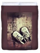 Baby Shoes On Wood Duvet Cover