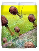 Bacteriophage T4 Virus Group 2 Duvet Cover by Russell Kightley