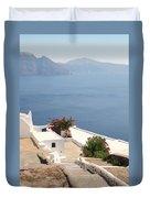 Balcony Oia Santorini Greek Islands Duvet Cover
