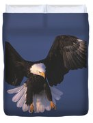 Bald Eagle Hovering In The Air Duvet Cover