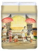 Balinese Children In Traditional Clothing Duvet Cover