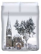 Ballater Church In Snow Duvet Cover