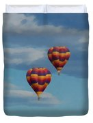 Balloons Over The Rockies Painterly Duvet Cover