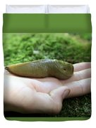 Banana Slug On Hand Duvet Cover