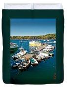 Bar Harbor Boat Dock Duvet Cover