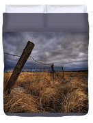 Barbed Wire Fence Posts With Dark Sky Duvet Cover