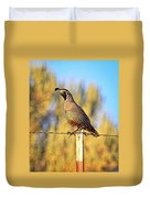 Barbed Wire Quail Duvet Cover