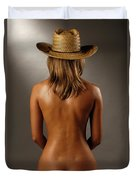 Bare Back Of A Suntanned Woman In A Straw Hat Duvet Cover