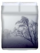 Bare Trees In Thick Fog, Peak District Duvet Cover
