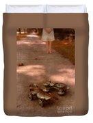 Barefoot Girl On Sidewalk With Roller Skates Duvet Cover