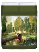Barge On A River Normandy Duvet Cover
