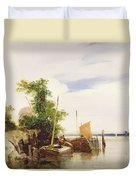 Barges On A River Duvet Cover by Richard Parkes Bonington