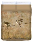 Barn Swallows On Barbed Wire Fence Duvet Cover