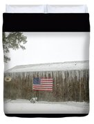Barn With American Flag During Blizzard Of '05 On Cape Cod Duvet Cover